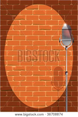 Stand Up Night Against a Brick Wall.