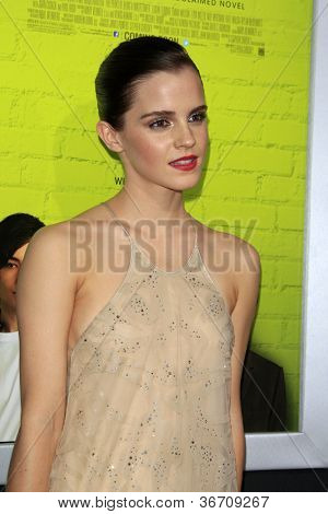 "LOS ANGELES - SEP 10:  Emma Watson arrives at ""The Perks of Being a Wallflower"" Premiere at ArcLight Cinemas on September 10, 2012 in Los Angeles, CA"