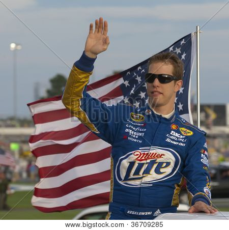 ATLANTA, GA - SEP 02, 2012:  Brad Keselowski (2) waves to the crowd before he races at the AdvoCare 500 at the Atlanta Motor Speedway in Hampton, GA on Sep 2, 2012.