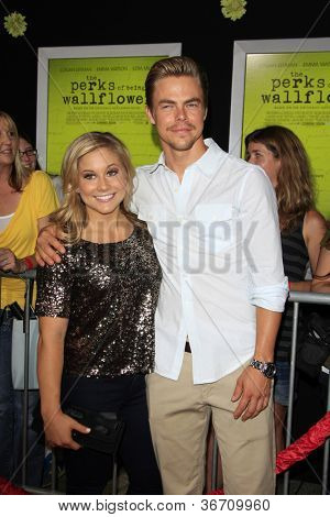 """LOS ANGELES - SEP 10:  Shawn Johnson, Derek Hough arrives at """"The Perks of Being a Wallflower"""" Premiere at ArcLight Cinemas on September 10, 2012 in Los Angeles, CA"""