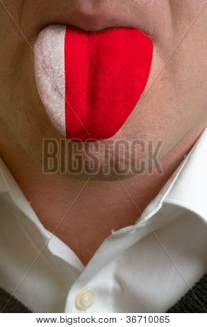 Man Tongue Painted In Bahrain Flag Symbolizing To Knowledge To Speak Foreign Language
