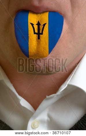 Man Tongue Painted In Barbados Flag Symbolizing To Knowledge To Speak Foreign Language