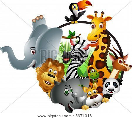 funny animal wildlife set