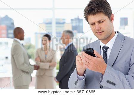 Grave Gerenciador de envio de um texto com o seu telemóvel