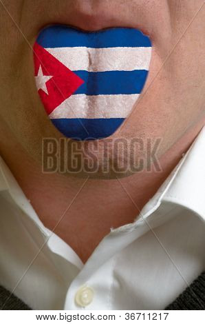 Man Tongue Painted In Cuba Flag Symbolizing To Knowledge To Speak Foreign Language