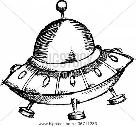 Sketch Doodle Flying Saucer UFO Vector illustration