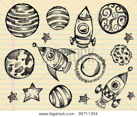 Doodle Sketch Outer Space Vector Set