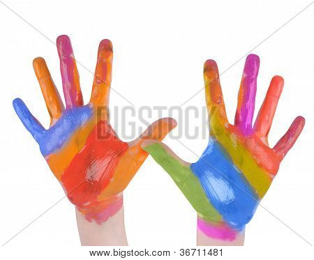 Child Art Hands Painted on White Background