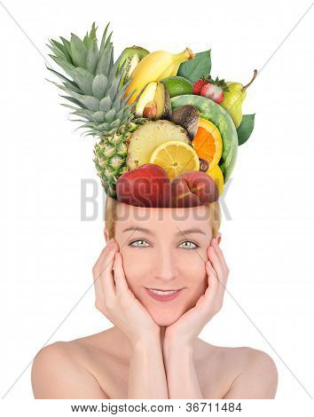 Woman with Fruit Food Head