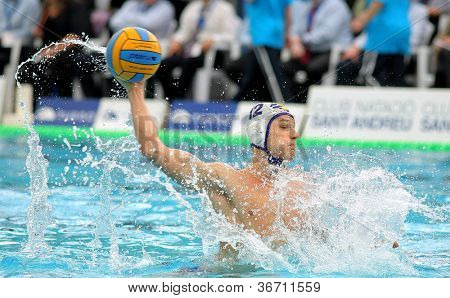 BARCELONA - FEB 19: Serbian waterpolo player Marko Petkovic of CNA Barceloneta in action during the Spanish kings cup Final match in Sant Andreu swimming pool, February 19, 2012 in Barcelona, Spain