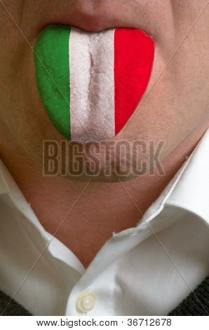 Man Tongue Painted In Italy Flag Symbolizing To Knowledge To Speak Foreign Language