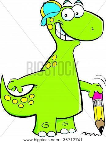 Brontosaurus holding a pencil