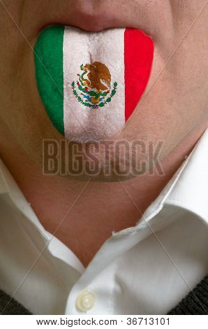 Man Tongue Painted In Mexico Flag Symbolizing To Knowledge To Speak Foreign Language