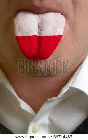 Man Tongue Painted In Poland Flag Symbolizing To Knowledge To Speak Foreign Language