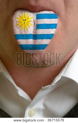 Man Tongue Painted In Uruguay Flag Symbolizing To Knowledge To Speak Foreign Language