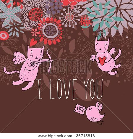 Romantic background. Cupid cats in flowers