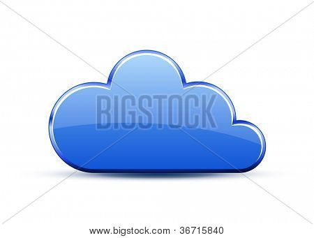 Glossy glass cloud icon. Vector illustration