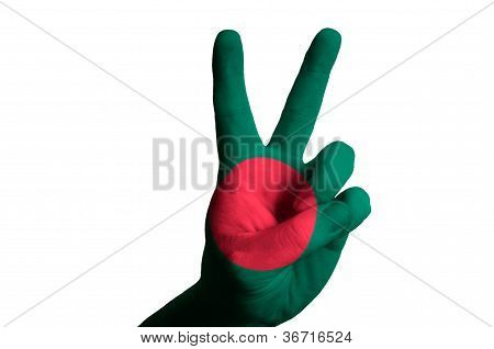 Bangladeshi National Flag Two Finger Up Gesture For Victory And Winner Symbol Made With Hand