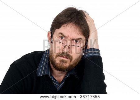 Portrait Of Bearded Man Wearing Glasses About Amazement Looking In Chamber