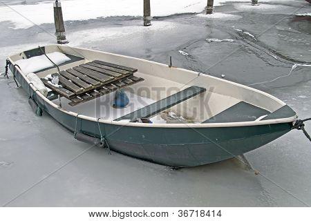 Rowing boat in winter