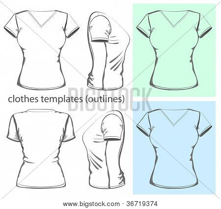 Vector. Women's  v-neck t-shirt design template (front, back and side view).outline