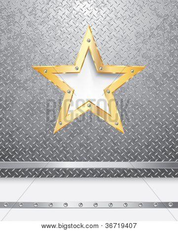 Vektor Metal Hintergrund mit goldener Stern