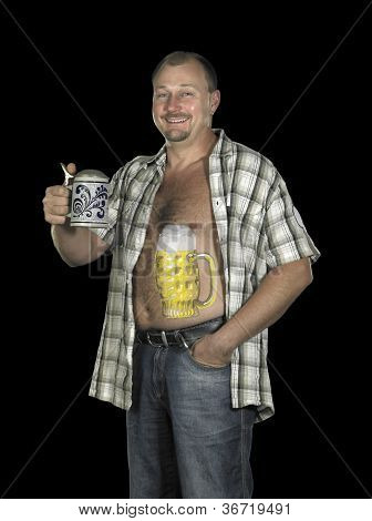 Man With Beer Belly And Stein