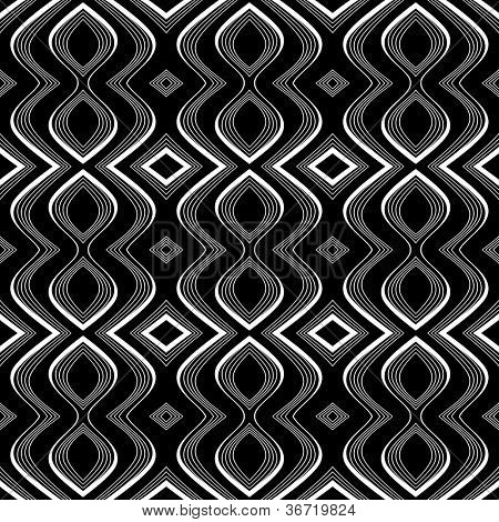 Nahtlose Op-Art Textur. Wellenbewegung Illusion. Vektorgrafiken.