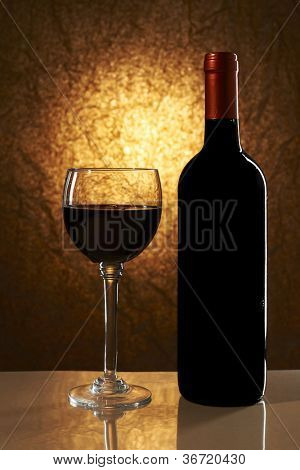 Wine List Design Series: Bottle of red wine and glass with copy space