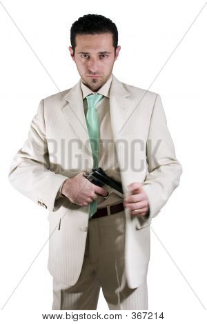 Man Pulling Out His Gun