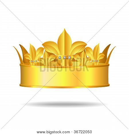 Gold crown with white gems