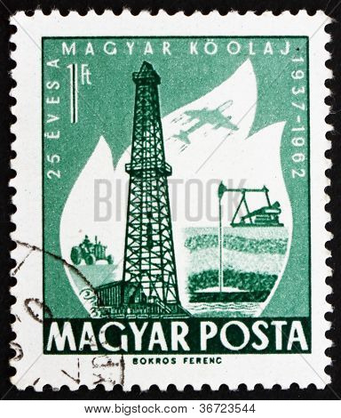 Postage stamp Hungary 1962 Oil Derrick and Primitive Oil Well