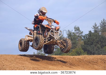 Teen Rider In Jump Above The Horizon