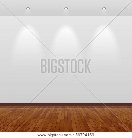 与白色的墙壁和木地板的空房间.向量