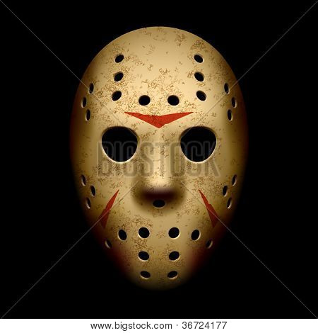 Scary hockey mask. Vector.