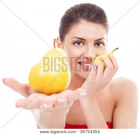 healthy young woman holding two pears, offering one to you and holding one for herself. isolated on white