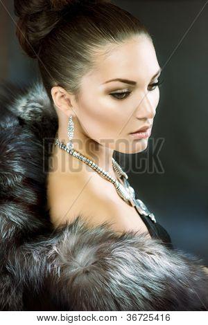Fur Fashion.Beautiful Woman in Luxury Fur Coat