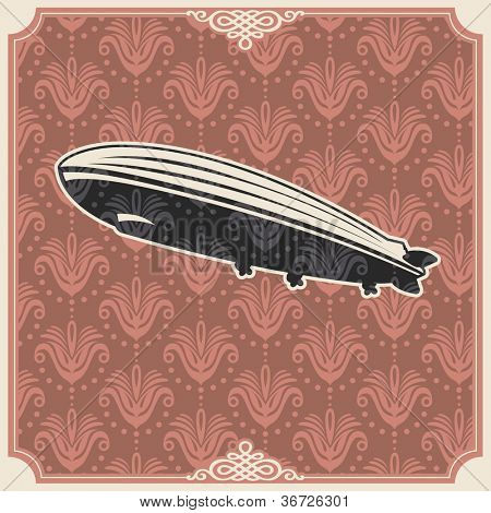 Vintage background with zeppelin. Vector illustration.