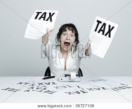 Woman Frightened By Taxes