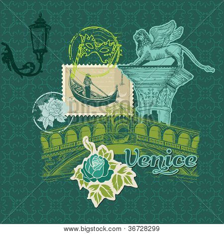 Scrapbook Design Elements - Venice Vintage Card with Stamps - in vector