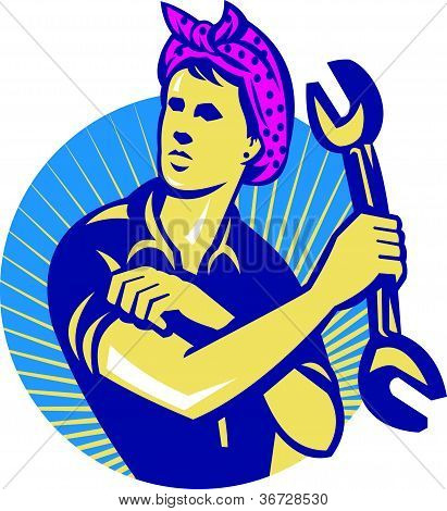 Female Mechanic Worker With Spanner Retro