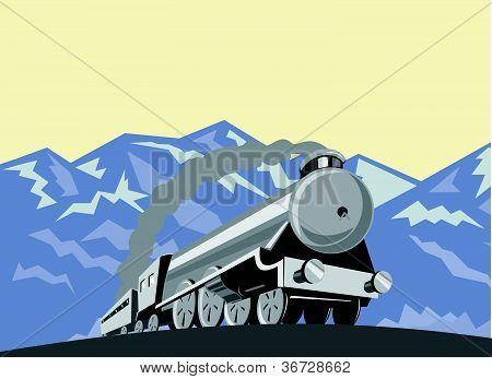 Steam Train Locomotive Low Angle Retro