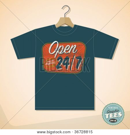 Vintage Graphic T-shirt design - Open 24/7 - Vector EPS10. Grunge effects can be easily removed for a cleaner look.
