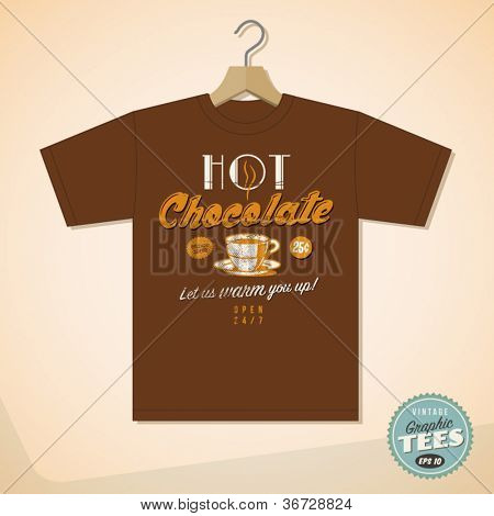 Vintage Graphic T-shirt design - Hot Chocolate - Vector EPS10. Grunge effects can be easily removed for a cleaner look.