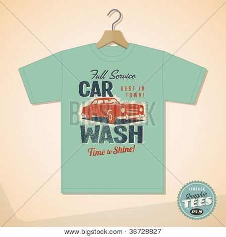 Vintage Graphic T-shirt design - Car Wash - Vector EPS10. Grunge effects can be easily removed for a cleaner look.