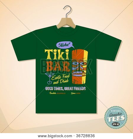 Vintage Graphic T-shirt design - Tiki Bar - Vector EPS10. Grunge effects can be easily removed for a cleaner look.