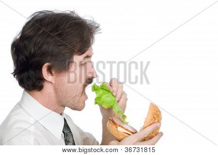 Man Will Get From Hamburger Sheet Salad And Eats