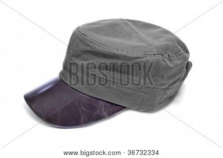 a gray cap with brown leather visor on a white background