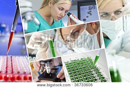 Hermoso joven mujer médico o científico investigador utilizando su microscopio haciendo rese científica