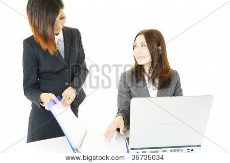 Close up of young business couple